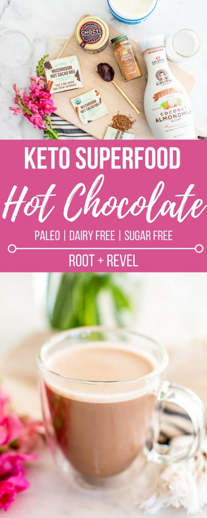 Looking for a Keto Hot Chocolate Recipe? How about one that's homemade, easy to make from a mix, dairy free, Paleo, refined sugar free, chockfull of superfoods, and yet extra thick and creamy and delicious? Healthy hot chocolate to the rescue!