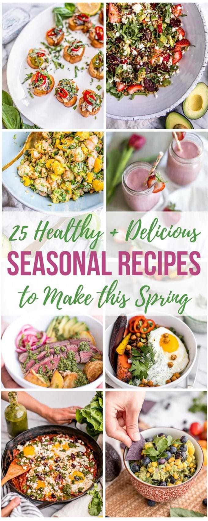 In this Guide to Spring Food, we're showcasing five of the most popular seasonal ingredients for spring: strawberries, avocado, fresh herbs (basil, cilantro and parsley), cabbage and asparagus. You'll learn about the health benefits of In Season Produce AND we've rounded up 25 delicious Spring recipes that will inspire you out of the winter blues and into your kitchen!