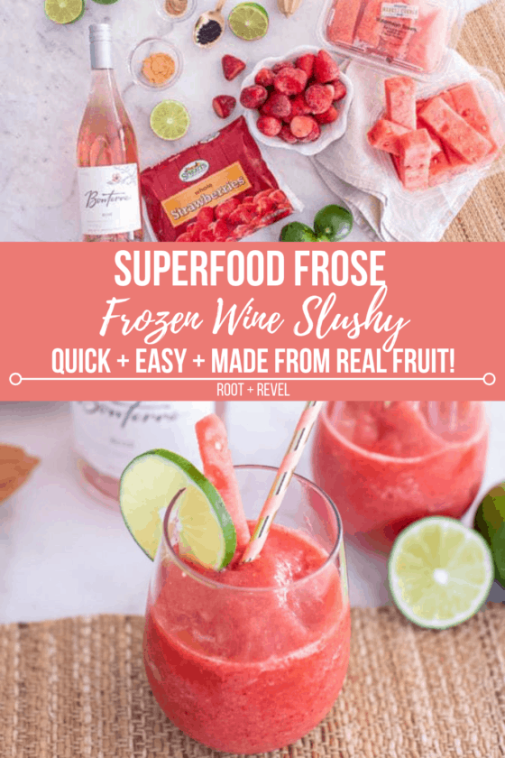 Refreshing Superfood Frose Recipe (aka a Frozen Rosé Wine Slushy) made with real fruit.