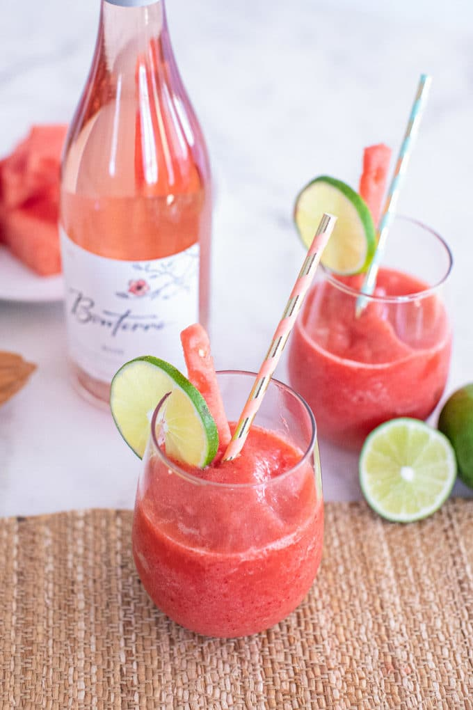 Superfood Frose (Frozen Rose Wine Slushy) This refreshing Superfood Frose Recipe (aka a Frozen Rosé Wine Slushy) is the perfect summertime beverage. Made from watermelon, strawberries, organic rosé wine and superfood powders, this frose recipe is sure to please at BBQs or any summer get together! It's delicious as it is nutritious, and a fun way to get whole fruits in while imbibing.