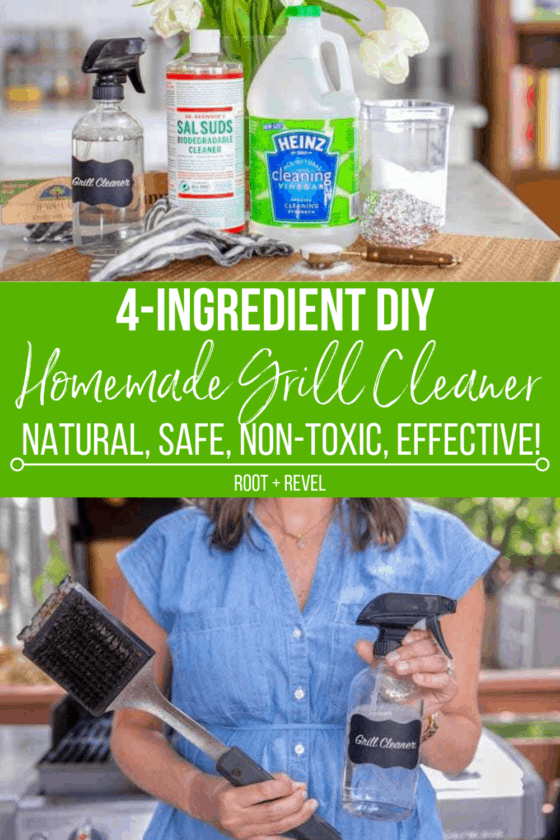 This quick and easy non-toxic DIY Grill Cleaner is a must during summer!  Homemade grill cleaner is not only safer and cheaper, but also makes a perfect Father's Day gift. You just need four natural ingredients, and no harmful ammonia, to cleanse your grill grates, improve taste, reduce gas expenses and prevent rust!