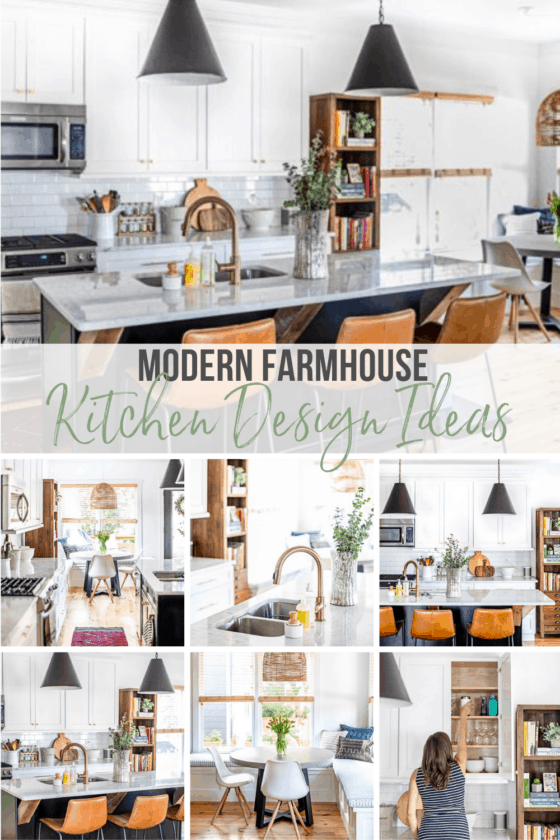 Looking for ideas and inspiration for a Modern Farmhouse Kitchen Design? Here we reveal our kitchen decor ideas and decorating tips, complete with white cabinets, marble countertops, subway tile backsplash, rustic lighting and budget-friendly accents.