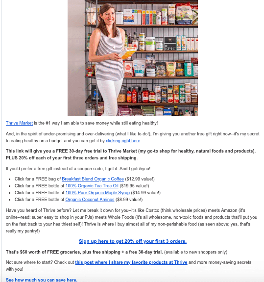 A screenshot of an affiliate marketing email for Thrive Market and how to promote it.