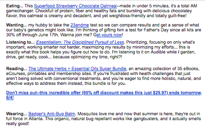 A screenshot of an affiliate marketing email newsletter making different recommendations.