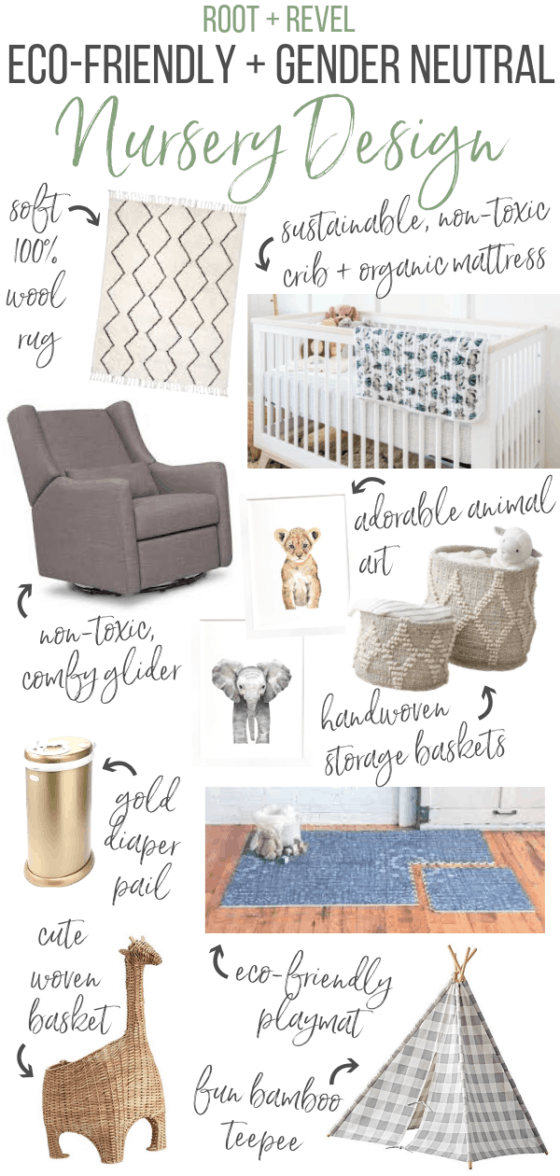 Welcome to our Baby Nursery Reveal! I'm so excited to share our baby boy's nursery design ideas with eco-friendly baby furniture, modern gender neutral nursery decor + a whimsical woodland theme. With a boho green, white and grey color scheme with plenty of natural wood and brass elements, this peaceful and serene space is modern, rustic and perfect for natural mamas!