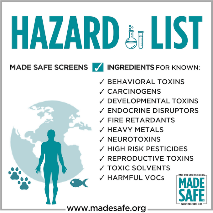 MADE SAFE certification hazards list