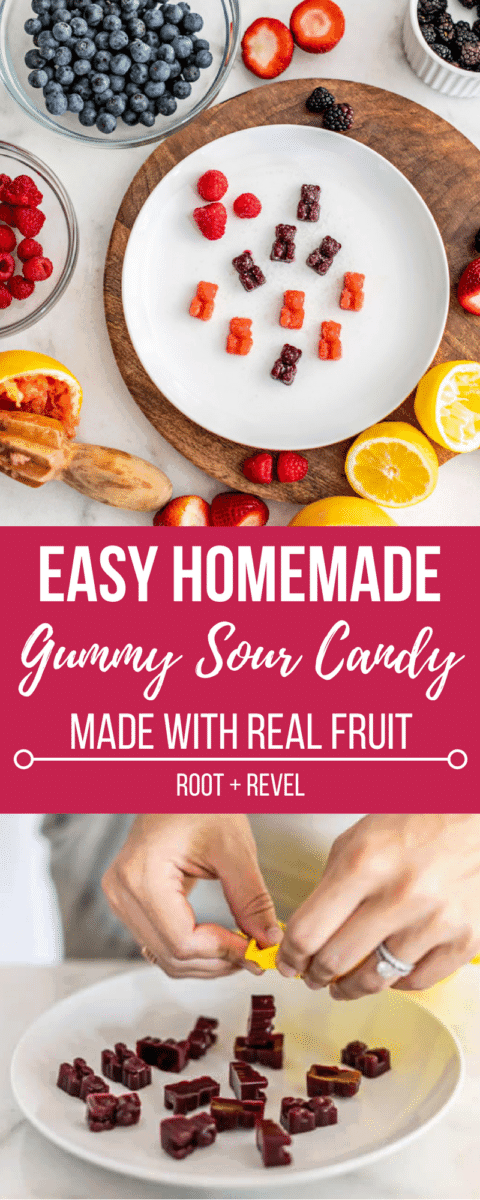 If you love sour candy, this homemade gummy bear recipe made with real fruit is for you! Follow our step-by-step instructions for how to make gummy bears by swapping out toxic ingredients like artificial colors and high fructose corn syrup for healthy, unrefined sweeteners. This easy gummy bear recipe is made with digestion-friendly gelatin, too!