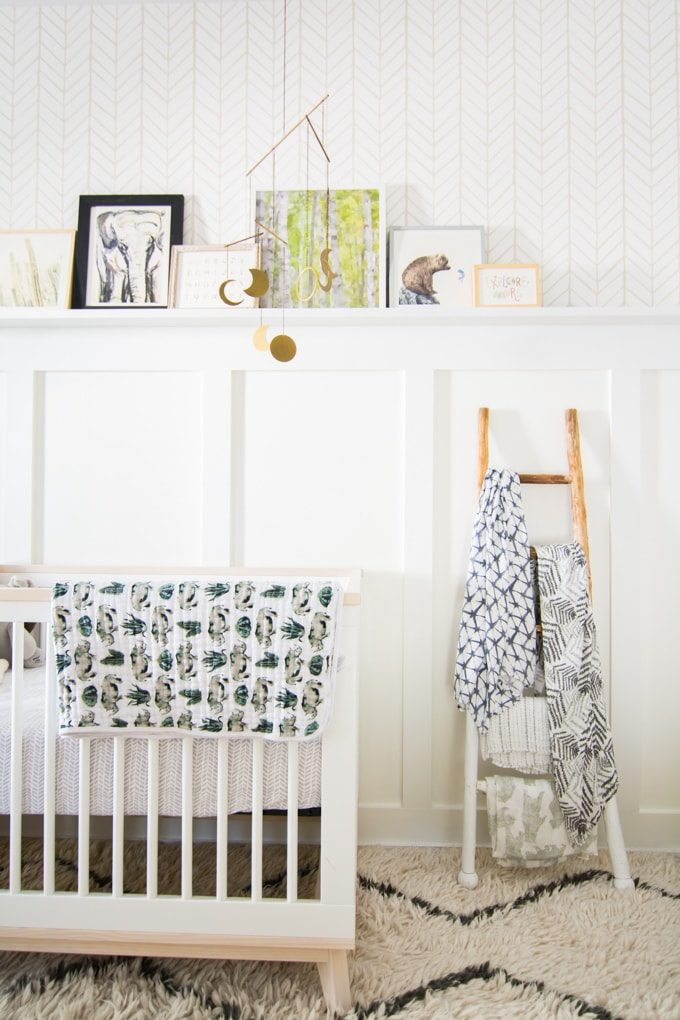 Baby Nursery: ideas, neutral, natural, woodland, DIY, decor, art, wall, blanket