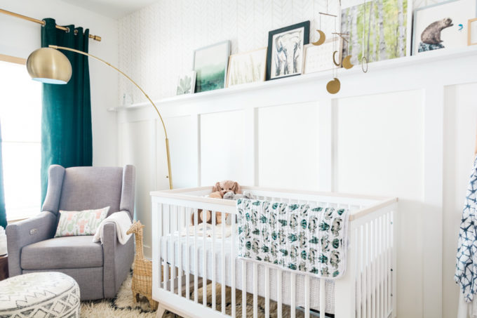 Baby Nursery: ideas, neutral, natural, boy, decor, chair, crib, modern, gold, teal, white