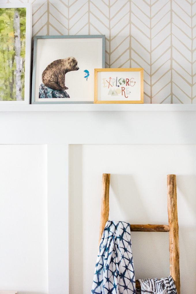 Baby Nursery: ideas, art, shelves, neutral, natural, boy, decor, animals, woodland