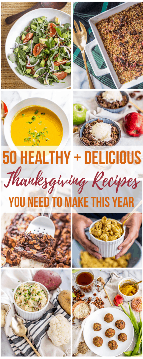 These 50 healthy Thanksgiving recipes provethat we can still revel in deliciouscomfort food and seasonal, holiday flavors without the heavy, inflammatory ingredients that often come with traditional Thanksgiving dinner recipes. Swap in some of these festive and healthy Thanksgiving appetizers, sides, snacks, mains, desserts and even leftovers recipe ideas at your Thanksgiving table this year and see for yourself--food can taste as good as it makes you feel!