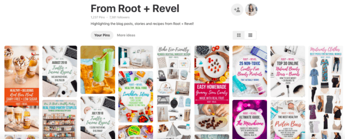 A screenshot of Root+Revel's PInterest account.