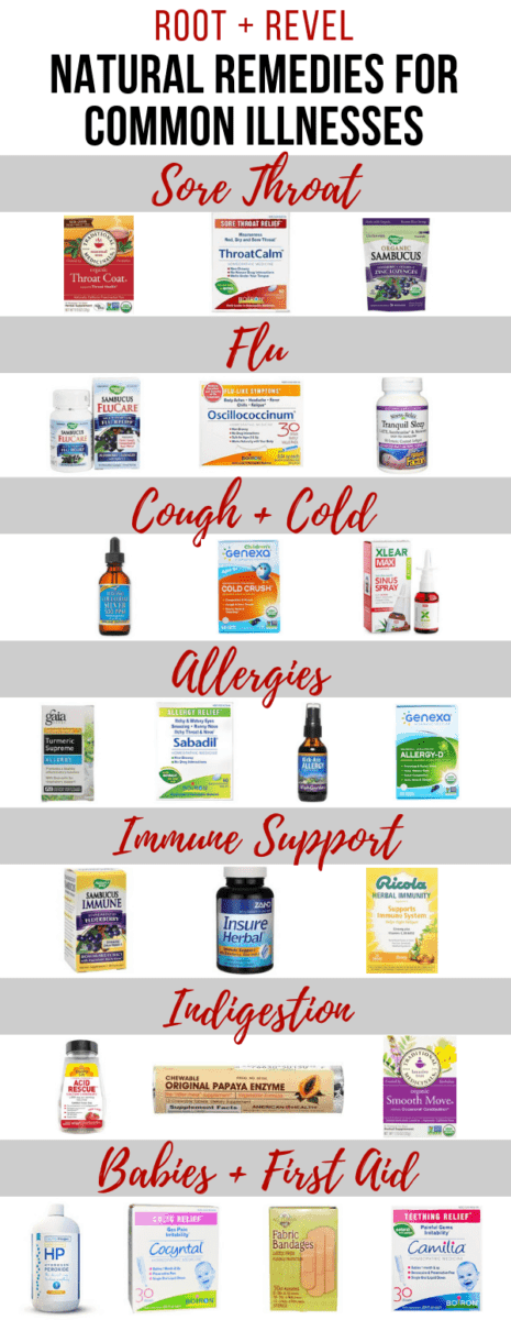 Get relief naturally from common illnesses like colds, flu, sore throats and sinuses, allergies, digestive discomfort and more with these over the counter natural remedies! Learn the dangers of conventional drugs and medicine and get recommendations for healthier brands you can count on to feel better when you're sick.