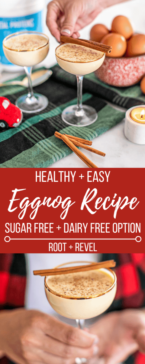 Keep it clean, homemade and simple this holiday season with this healthy and easy eggnog recipe! An upgrade to the classic, you can enjoy this nutrient-rich, low carb festive drink with no guilt as there is ZERO sugar! Try it virgin or spiked, plus there's also a dairy-free modification that's just as decadent.
