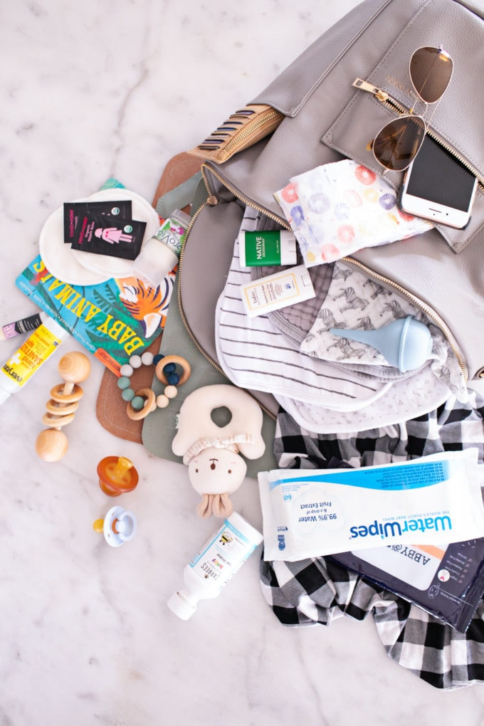 Diaper bag and all the essentials for baby travel