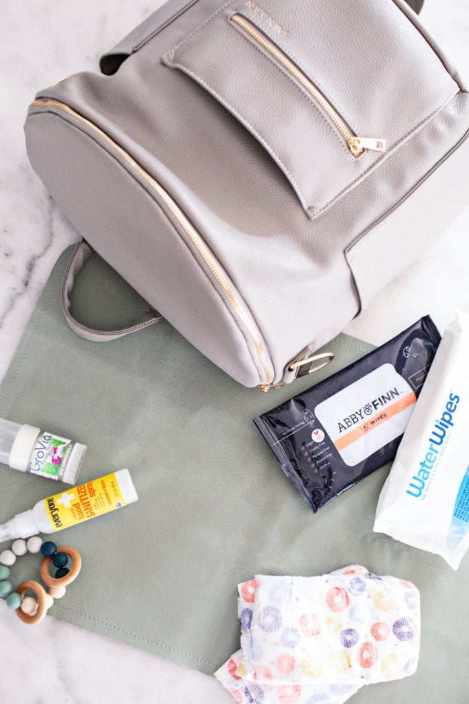 Diaper Bag Essentials: What's In My Diaper Bag? diapers, wipes, changing mat, hand sanitizer