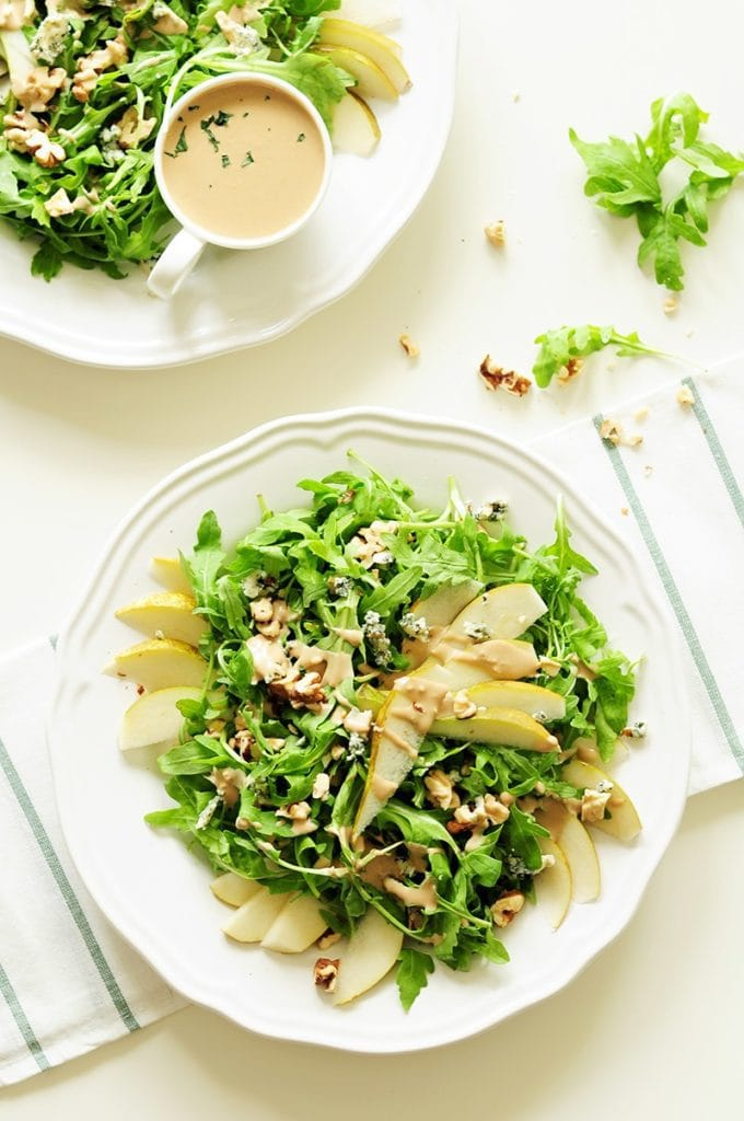 SEASONAL WINTER FOOD: Pears - Arugula Pear Salad with Tahini Dressing