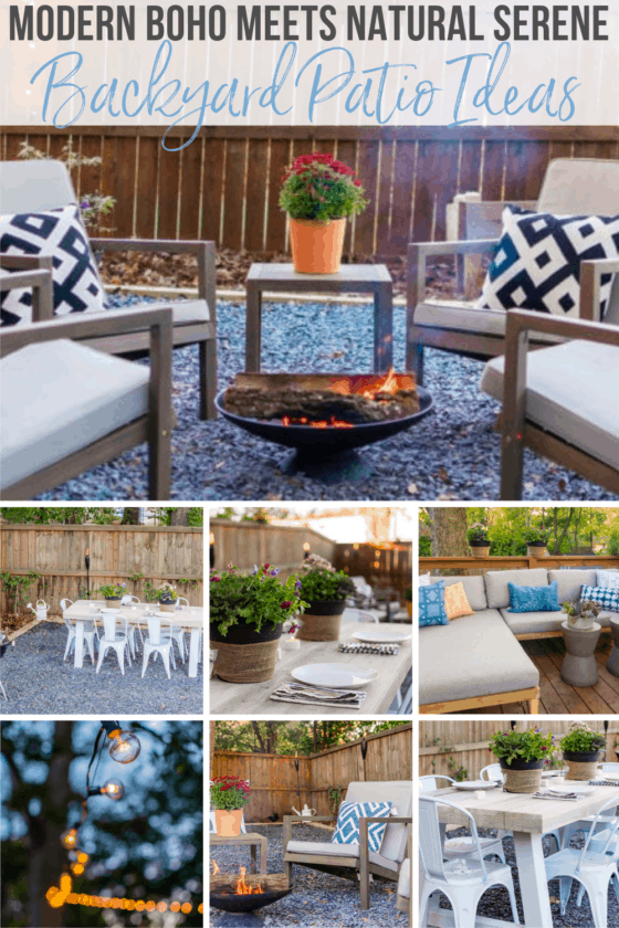 This modern boho backyard patio design gives inspiration and ideas to help you create a green, serene outdoor space using natural materials, and cozy and contemporary furniture, all on a budget!