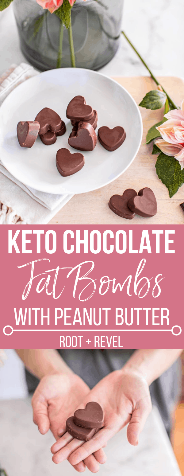 With just six ingredients, this easy Chocolate Peanut Butter Fat Bombs recipe will satisfy anyone: from kids to adults, to vegans to keto devotees! These low carb, sugar-free healthy treats make a satisfying snack or dessert, with a cute heart shape perfect for Valentine's Day.