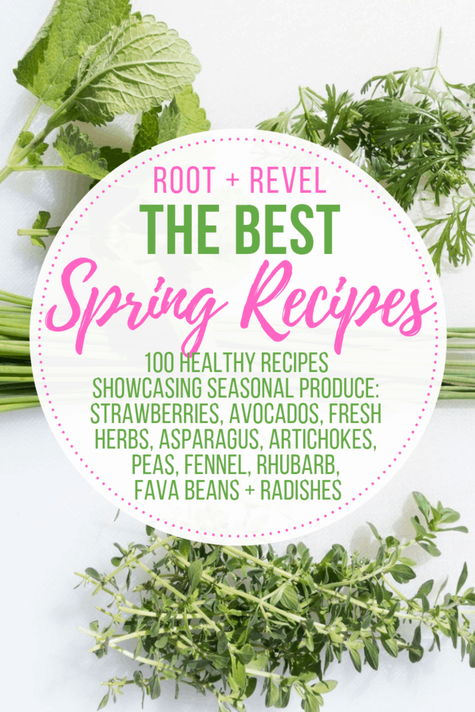 In this Guide to Spring Food, we're showcasing 10 of the most popular seasonal ingredients for spring: strawberries, avocado, fresh herbs (basil, cilantro and parsley), asparagus, artichokes, peas, fennel, rhubarb, fava beans, and radishes. You'll learn about the health benefits of in season produce AND we've rounded up 100 delicious Spring recipes that will inspire you out of the winter blues and into your kitchen!