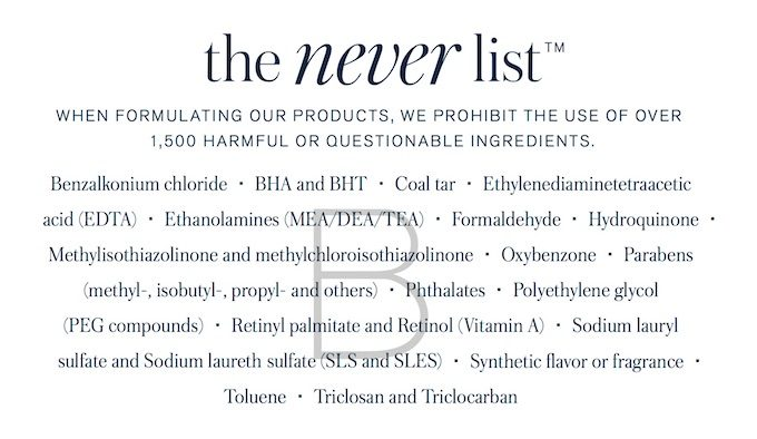 The Never List from Beautycounter.