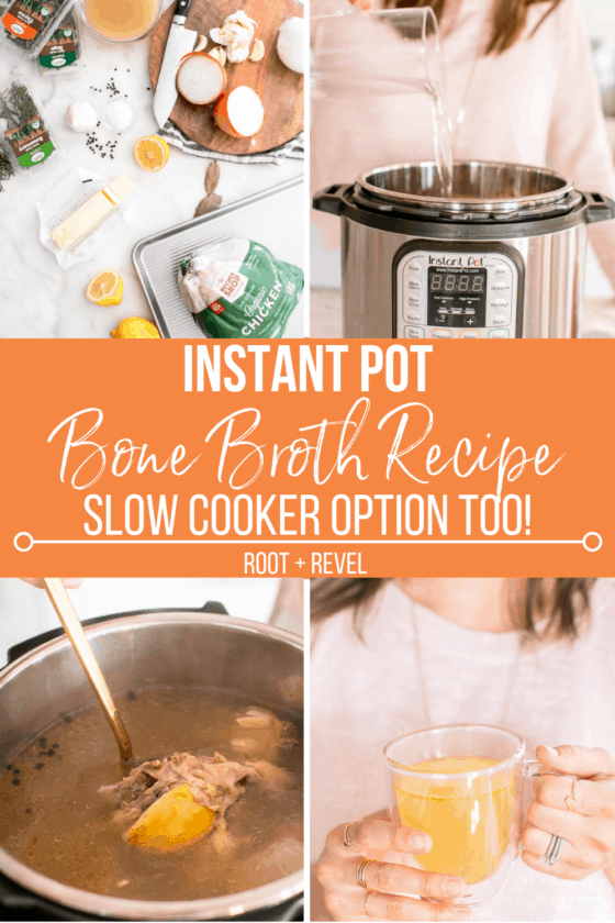 Wondering how to make bone broth? This homemade chicken bone broth recipe is easier and quicker than you could imagine! With a pressure cooker like the Instant Pot, you'll have a nutritional powerhouse full of minerals and amino acids that heals digestion, inflammation, infections, and more in just 120 minutes from start to finish! Slow cooker option also included. Plus we've got a FAQ all about bone broth benefits and more!