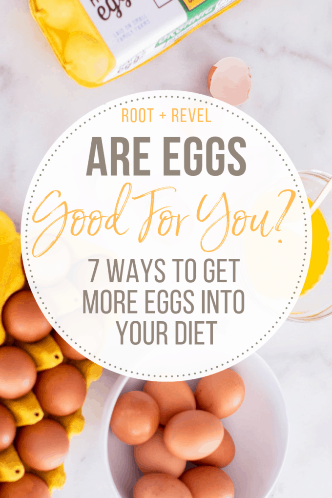 Is eating eggs good or bad for you? In this post we reveal the nutritional benefits of eggs, dispel the egg cholesterol myth, give label hacks for what to look for when buying eggs at the grocery store, and share our seven favorite, healthy ways to get more eggs into your diet.