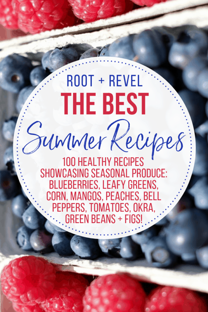 In this Guide to Summer Food, we're showcasing ten of the most popular seasonal ingredients for Summer: blueberries, leafy greens, corn, mango, peaches, bell peppers, tomatoes, okra, green beans, and figs. You'll learn about the health benefits of In Season Produce AND we've rounded up 100 delicious Summer recipes that will help you beat the heat!