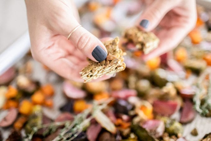 Maple Roasted Root Veggies Recipe + Health Warrior Pumpkin Seed Bars