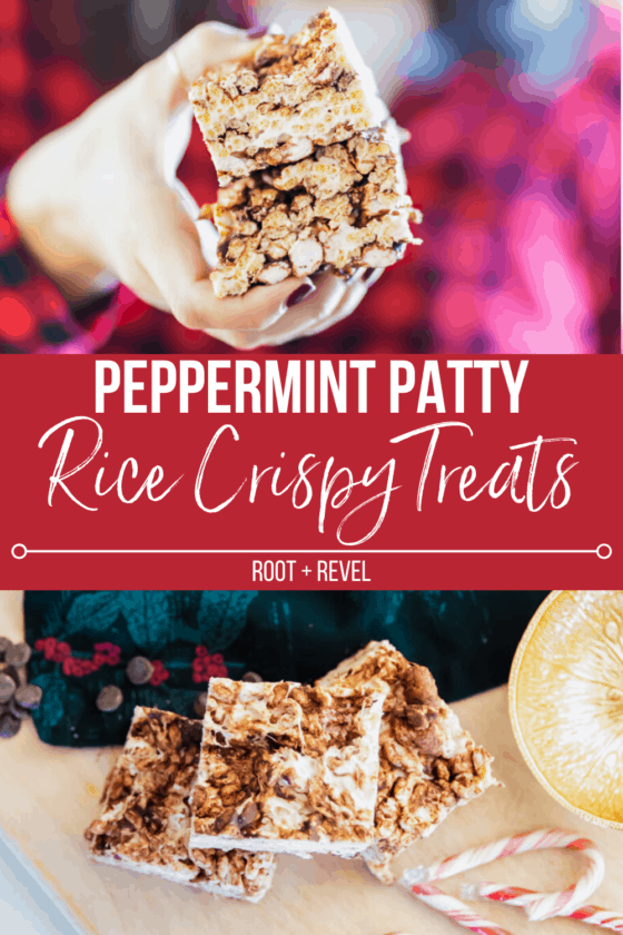 This rice crispy peppermint patties recipe is the perfect holiday treat for adults and kids alike! This twist on the classics takes only takes 15 minutes and five ingredients to make, plus gets a healthier upgrade with organic ingredients and all-natural marshmallows for an easy finger food dessert.