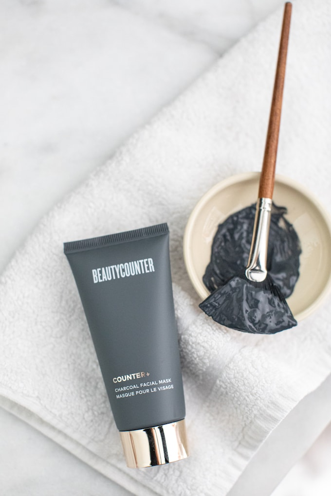 Beautycounter Charcoal Mask in bowl with brush