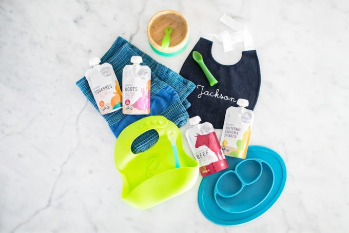 A selection of baby led weaning products.