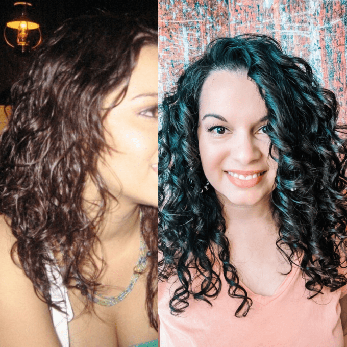 Before and after photos of how to style curly hair.