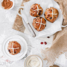 Platters and plates of hot cross buns